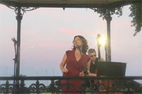 singing on bandstand